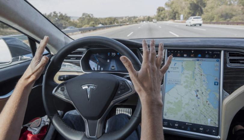 Автономное вождение без помощи водителья на автомобиле Тесла