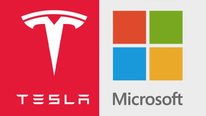 Логотипы тесла и Майкрософт